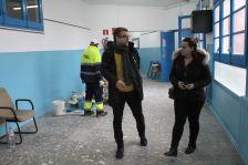 Els regidors Sánchez i Sampere, durant la visita d'obres a l'Hotel d'Entitats